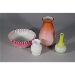A Collection of Four Pieces of Satin Glass Vases and Bowl.