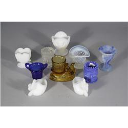 A Collection of Ten Pressed Colored Glass Toothpick Holders.