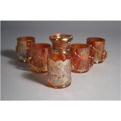 A Collection of Six Pressed Colored Glass Toothpick Holders.