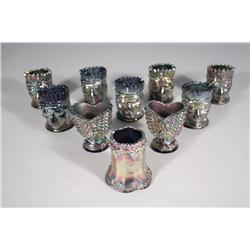 A Collection of Ten Fenton Glass Pressed Colored Glass Toothpick Holders.
