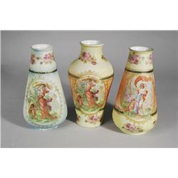 """A Group of Three Pompadour Transfer Printed """"Tapestry"""" Porcelain Vases."""
