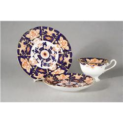 An English Imari Pattern Cup, Saucer and Plate, Foley China, England.