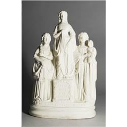 "A Parian Porcelain Figural Group, ""The Good Templars Motto"", Faith, Hope and Charity."