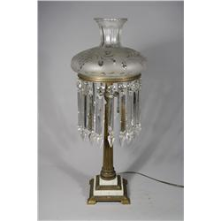 An 1830's Astral Etched Glass, Bronze and Marble Electrified Oil Lamp with Prisms.