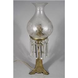 A Victorian Etched Glass and Gilt Brass Electrified Oil Lamp.