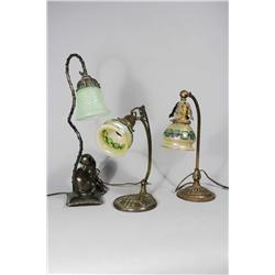 A Group of Three Brass and Glass Desk Lamps.