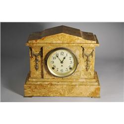 A Seth Thomas Faux Marble Mantle Clock.