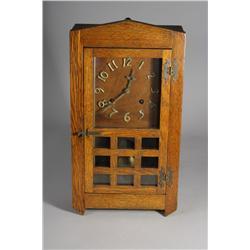 A Mission Style Oak Mantle Clock.
