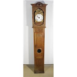 A 19th Century French Provincial Carved Oak Tall Case Clock by Colboc à Monville.