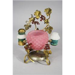 A Tiffany Studios Colored Glass and Gilt Brass Ladies Ink Well.