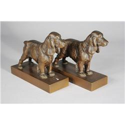 A Pair of Jennings Brothers Copper Spaniel Bookends.