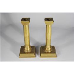 A Pair of Chelsea Clock Co. Brass Candlesticks.