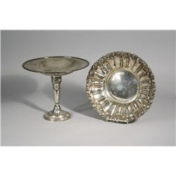 A Silver Plated Compote Together with a Bowl.