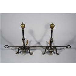 A Set of Gothic Revival Wrought Iron Andirons.