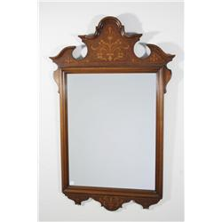 A 20th Century Continental Walnut Mirror with Marquetry Decoration.