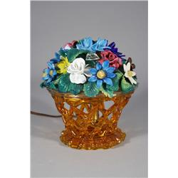 A Venetian Colored Glass Flower Lamp.