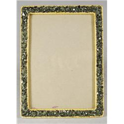 A Faberge Style Nephrite and Gold Plated Frame.