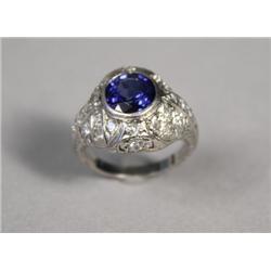 A Ceylon Sapphire & Diamond Platinum Ring.