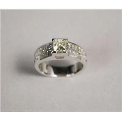 A Ladies 14kt. White Gold Princess Cut 1.02ct. Diamond Ring,