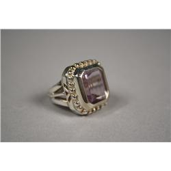 A Ladies Sterling Silver and Amethyst Ring, Approx 5 ct.