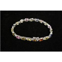 A Ladies 14kt. White Gold Genuine Sapphire 1.16ct. Diamond Bracelet,