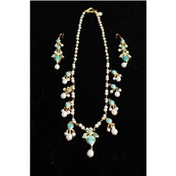 An 18kt. Yellow Gold Diamond, Pearl and Turquoise Necklace with Matching Earrings,