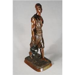 """Marcel Debut (Paris, 1865-1933) """"Porteur d'eau Tunesien"""" (Water Carrier) Bronze, brown patina,"""
