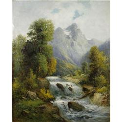 Attributed to Francois Bonnet (French, 1811-1894) Mountain Landscape with River, Oil on canvas,