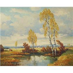 Humbert (Austrian) Landscape, Oil on canvas,