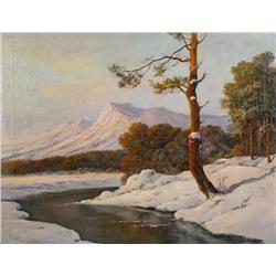 Charles Feder (Polish, b.1896) Winter Scene with Stream, Oil on canvas,