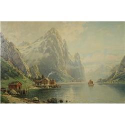 C. Bertold (Swiss, b.1870) Alpine Lake Scene, Oil on canvas,