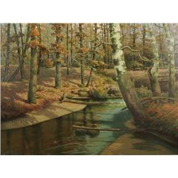"""Thomas Nash (American, 1856-1927) Forest Scene with River, """"Birches"""", Oil on canvas,"""