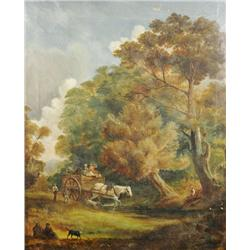 Artist Unknown (19th Century) Figures in a Landscape Oil on canvas,