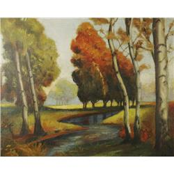 E. May (20th Century) Landscape with River, Oil on board,