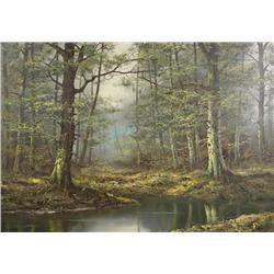 Duerr, Forest Scene, Oil on canvas,