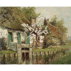 Verdlak (20th Century) Landscape with Cottage and Stream, Oil on canvas,