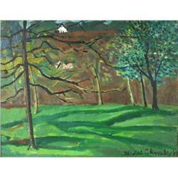 Nicolai Cikovsky (Russian/American, 1894-1987) Forest Scene, Oil on canvas laid on panel,