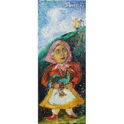 David Burliuk (Russian, 1882-1967) Peasant Girl, Oil on canvas,