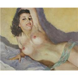 Pal Fried (Hungarian/American, 1893-1976) Reclining Nude, Oil on canvas,