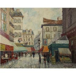 Marcel Brisson (French, b.1915) Paris Street Scene, Oil on canvas,