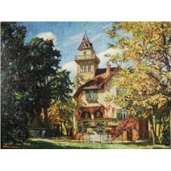 Artist Unknown (19th/20th Century) Landscape with House, Oil on board,