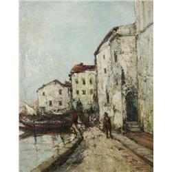 John Le Comte (French) Impressionist Dock and Street Scene, Oil on canvas,