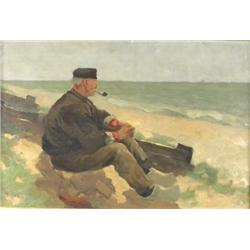 William Castle-Keith (American, 1864-1927) Man with a Pipe on Shore, Oil on canvas,