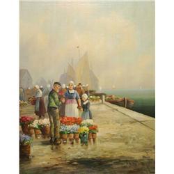 R. Krotter (20th Century) Dutch Scene, Oil on canvas,