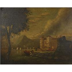 19th Century Continental School, Port Scene with Figures, Oil on board,