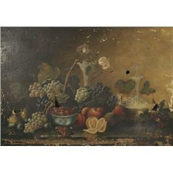 19th Century American School, Still Life with Fruit, Oil on canvas,