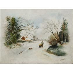 Artist Unknown (19th Century) Primitive Snow Scene, Oil on canvas,