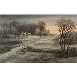 After W. C. Walls, (19th Century) Winter Scene Landscape, Oil on canvas,