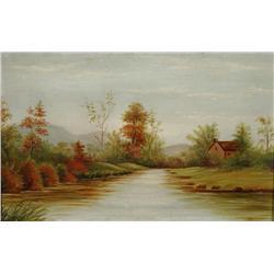 Artist Unknown (19th Century) Landscape with Stream, Oil on board,