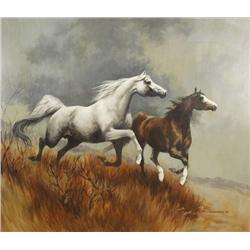 Phyllis Fullerton (American, 20th Century) Galloping Horses in a Landscape, Oil on canvas mounted on